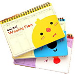 Cartoon Coil Schedule Planning Notebook(Random Colors)