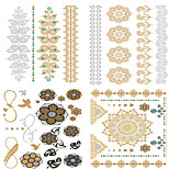 4PCS  Bride Makeup Personality European Style  Waterproof Metal Tattoo Stickers Suit -3