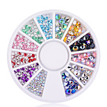 New 200 pcs 2mm 4mm 3D Nail Art Tips Gems Crystal Glitter Sharp End Rhinestone DIY Nail Decoration Wheel