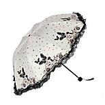 Korean Female Folding Umbrella Vinyl Parasol Sun Umbrella Uv Sunshade Butterfly