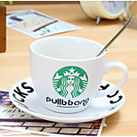 Classic Small Set Of Starbucks Coffee Cup Ceramic With A Dish With Spoon