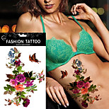 5pcs Fake Butterflies DIY Women Henna Body Arm Art Decal Petunia Peony Temporary Tattoo Sticker