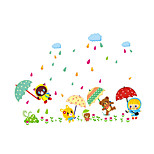 3D Wall Stickers Wall Decals Style Cute Animal Hold Up Umbrella PVC Wall Stickers