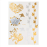 1pc Hair Tattoo Maple Leaf Style Water Transfer Gold Silver Flash Metallic Temporary Tattoo HT305