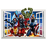 3D Avengers Superhero Iron Man Captain America 3D Wall Stickers Family Living Room False Window Design Wall Decals