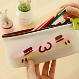 Super Meng Expression Minimalist Translucent Jelly Text Color Pencil Student Stationery Pencil Bags