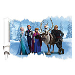 3D US Cartoon Frozen Family Elsa Anna Kristoff Hans 3D Wall Stickers Removable Fashion Living Room Bedroom Wall Decals