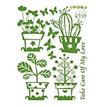 Green Potted Flowers Glass Tile Wall Stickers Removable Self-Adhesive Paper Sticker Three Generations