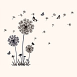 Creative DIY Vintage Black Dandelion Butterfly Wall Stickers PVC Bedroom Kitchen Wall Decals