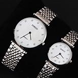 Couple's Womens'/Men's Watch Imitation Diamond Lover's Watch Fashion Dress Style Stainless Steel Band Quartz Wrist Watch