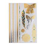 1pc Flash Metallic Tattoo Waterproof Glod Silver Feather Bow Tie Temporary Tattoo Sticker YH-098