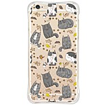 Waterproof/Transparent Cartoon Cute Cat TPU&Silicone Soft Shockproof Case Cover For iPhone 6s Plus/6 Plus/6s/6/SE/5s/5