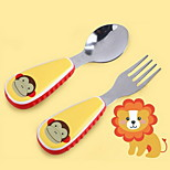 Stainless Steel  Baby Fork and Spoon(Monkey)