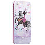 Girl On The Horseback Pattern Metal Frame PC painted  Hard Case for iPhone6/6s/6 Plus/6s Plus