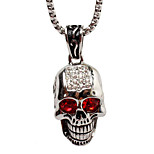 Luxury Personality With Drilling Skull Titanium Steel Necklace Pendant - Silver Ghost Head (Excluding Chain)
