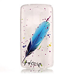 TPU + IMD Material Blue Feather Pattern Slim Phone Case for  LG K8/K7/K4/G5