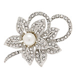 Fashion Rhinestone Alloy Flower Shape Brooches for Wedding