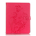 Tuta portafoglio / A portafoglio / Other Fiore decorativo Similpelle Morbido Embossed leather Copertura di caso per Apple iPad 4/3/2