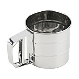 1Pc Stainless Steel Mesh Flour Sifter Mechanical Baking Icing Sugar Shaker Sieve
