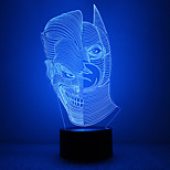 Amazing 3D Lllusion Led Table Lamp Night Light With Double Face Shape With Batman Shape With Mask Shape