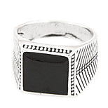 Men's European Style Fashion Punk Metal Square Simple Band Ring