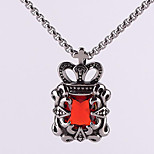 Retro Titanium Necklace Pendant Crown Jewels - Red