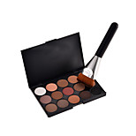 15 Colors Contour Face Cream Makeup Concealer Palette + Sponge Puff Powder Brush + 1PCS New Fashion Flat Contour Brushes