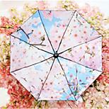 Romantic Cherry Vinyl Umbrellas Uv Sun Umbrella Folding Clear Umbrella Sun Umbrella Black Women