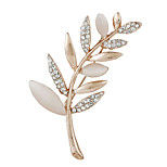 Elegant Women Exquisite Opal Leaf Wedding Bouquet Brooches