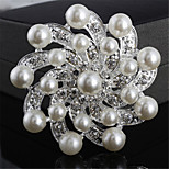 Fashion Silver Alloy Flower Shape Pearl Brooches for Women