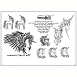 5PCS Fashion Unicorn Body Art Waterproof Temporary Tattoos Sexy Tattoo Stickers (Size: 3.74'' by 5.71'')