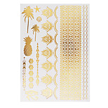 1pc Flash Metallic Waterproof Tattoo Gold Silver Pineapplen Tree Flower Temporary Tattoo Sticker YH-030