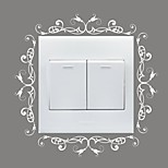 AYA™ DIY Wall Stickers Wall Decals, Flower Vine Design Type PVC Switch Panel Stickers 15*15cm