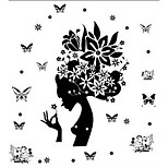 Butterfly Woman Flower Wall Stickers Living Room Bedroom Bedside Glass Decoration