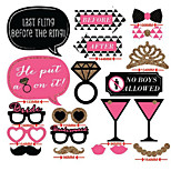 Hard Card Paper Wedding Decorations-20Piece/Set Unique Photo Booth Props Party Costumes with Mustache on a sticks