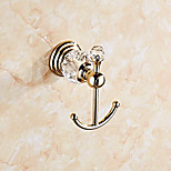 Modern Wall Mounted Gold Finish Metal Crystal Dual Robe Hook.