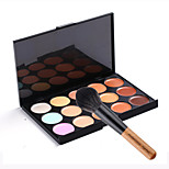 15 Colors Contour Face Cream Makeup Concealer Palette + 1 PCS High Quality Powder Brush