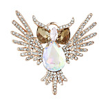 Fashion Gold Plated Rhinestone Lovely Owl Brooches For Wedding