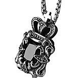 Retro Titanium Necklace Pendant Crown Jewels - Black