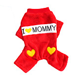 Cat / Dog Clothes/Jumpsuit Red / Blue Winter / Spring/Fall Solid / Letter & Number Cowboy, Dog Clothes