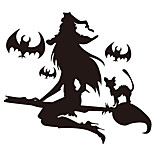 aw9426 Halloween Cartoon Wall Stickers Decorative Wall Stickers,VINYL    Removable Home Decoration Witch Wall Decal