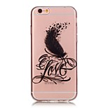 TPU High Purity Translucent Openwork Love Feather Pattern Soft Phone Case for iPhone 5/5S/ SE/6/6S/6 Plus/6S Plus