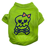 Cat / Dog Costume / Shirt / T-Shirt Green Summer / Spring/Fall Skulls Halloween, Dog Clothes / Dog Clothing