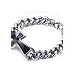 Men's Fashion Cross Silver Titanium Steel Bracelet