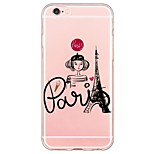 Paris Girl Pattern Soft Ultra-thin TPU Back Cover For iPhone 6 Plus/6s/6/5s/5