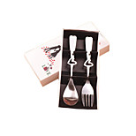 Small Gifts Creative Activities Fork Spoon Stainless Steel Cutlery Set - Love Spork White Box