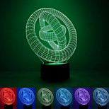 3 Rings Creative Colorful USB 3D Led Night Light
