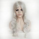 Color Cosplay Wig Silver 26 Inch High Temperature Curly Hair Silk Wig