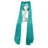 Pelucas de Cosplay Vocaloid Hatsune Miku Verde Extra largo Animé Pelucas de Cosplay 120 CM Fibra resistente al calor Hombre / Mujer