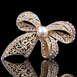Vintage Fashion Gold Pearl Bowknot Brooches for Women